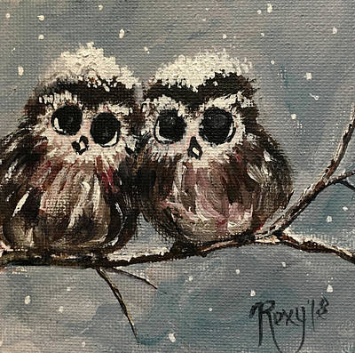 Animals Painting - Adorable Owl Chicks  by Roxy Rich