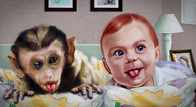 Cute Monkey Drawing - Baby And The Monkey Adorable Portrait by Arun Sivaprasad