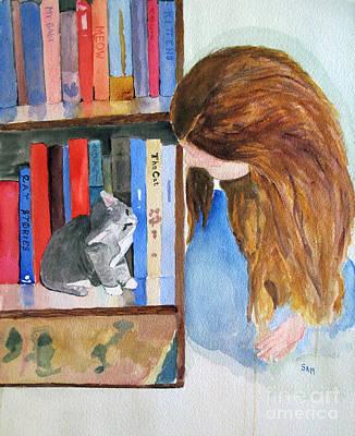 Bookshelf Painting - Adorable by Sandy McIntire