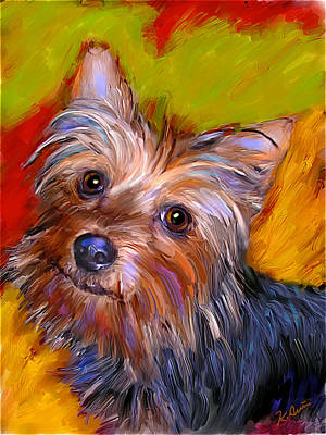 Yorkie Digital Art - Adorable Yorkie by Karen Derrico