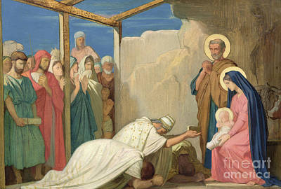 Melchior Painting - Adoration Of The Magi, 1857  by Hippolyte Flandrin