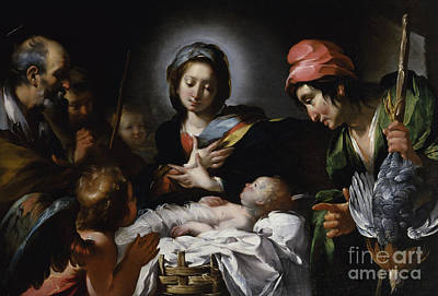 Christmas Cards Painting - Adoration Of The Shepherds by Bernardo Strozzi