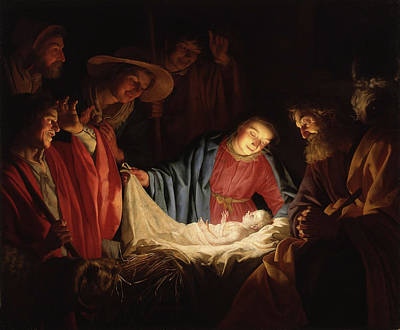 Painting - Adoration Of The Shepherds By Gerard Van Honthorst 1662 by Gerard van Honthorst