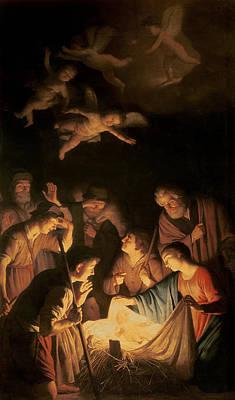 Nativity Painting - Adoration Of The Shepherds by Gerrit van Honthorst