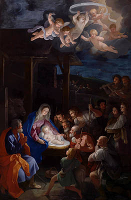 Nativity Painting - Adoration Of The Shepherds by Guido Reni