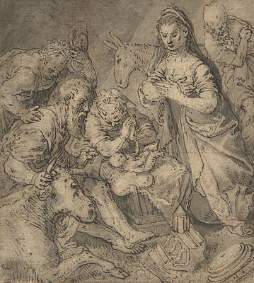Drawing - Adoration Of The Shepherds by Joachim Beuckelaer
