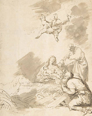 Drawing - Adoration Of The Shepherds by Treasury Classics Art