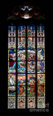 St Barbara Photograph - Adoration - Stained Glass Window by Michal Boubin