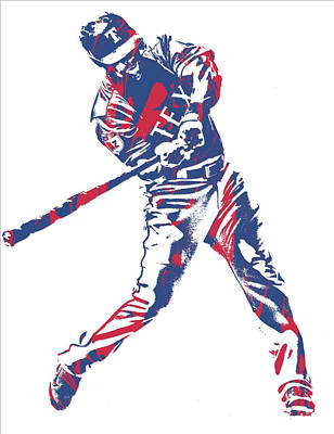 Mixed Media - Adrian Beltre Texas Rangers Pixel Art 1 by Joe Hamilton