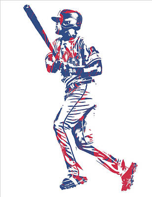 Mixed Media - Adrian Beltre Texas Rangers Pixel Art 3 by Joe Hamilton