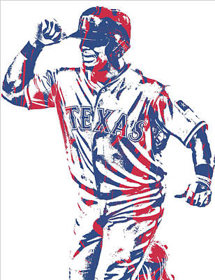 Mixed Media - Adrian Beltre Texas Rangers Pixel Art 4 by Joe Hamilton