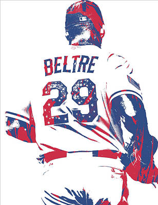 Mixed Media - Adrian Beltre Texas Rangers Pixel Art 5 by Joe Hamilton