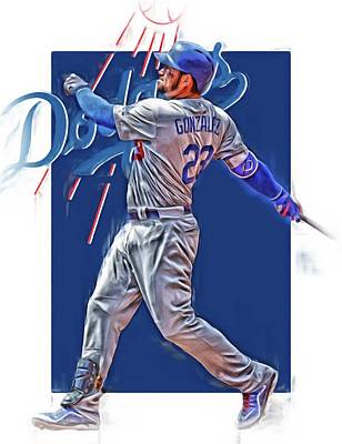 Adrian Gonzalez Los Angeles Dodgers Oil Art Art Print by Joe Hamilton