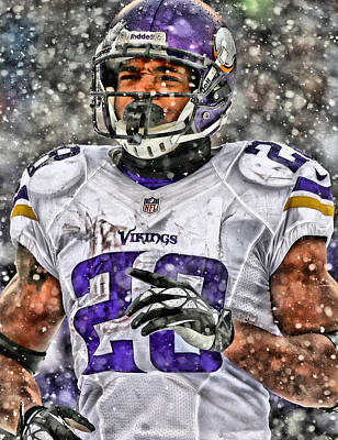 Football Painting - Adrian Peterson Art 2 by Joe Hamilton