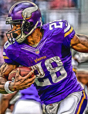 Adrian Peterson Minnesota Vikings Art Art Print by Joe Hamilton