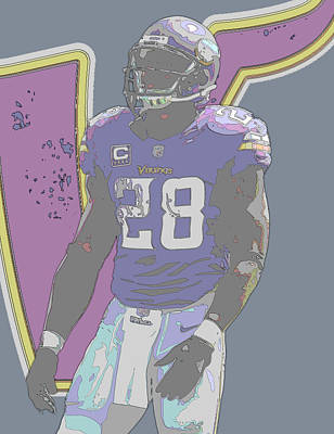 Mixed Media - Adrian Peterson Minnesota Vikings Contour Art by Joe Hamilton
