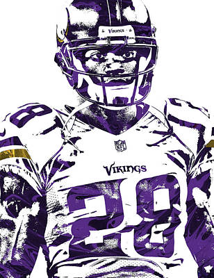 Mixed Media - Adrian Peterson Minnesota Vikings Pixel Art 2 by Joe Hamilton