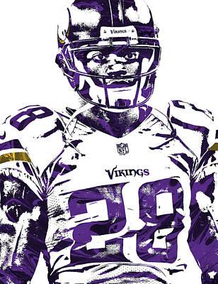 Art Print featuring the mixed media Adrian Peterson Minnesota Vikings Pixel Art 2 by Joe Hamilton