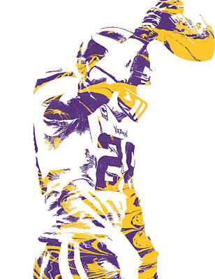 Adrian Peterson Minnesota Vikings Pixel Art 5 Art Print by Joe Hamilton