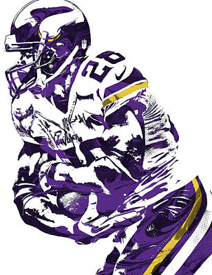 Art Print featuring the mixed media Adrian Peterson Minnesota Vikings Pixel Art by Joe Hamilton