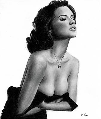 Drawing - Adriana Lima Portrait by David Rives