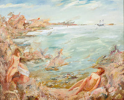 Painting - Adriatic Afternoon 1. Triptych by Maya Gusarina