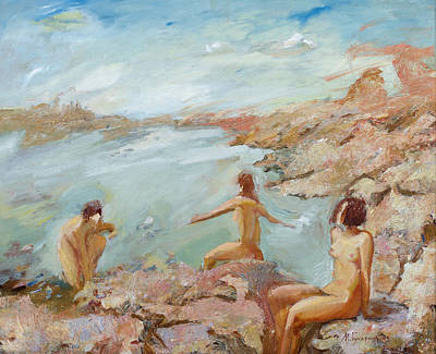 Painting - Adriatic Afternoon 2. Triptych by Maya Gusarina