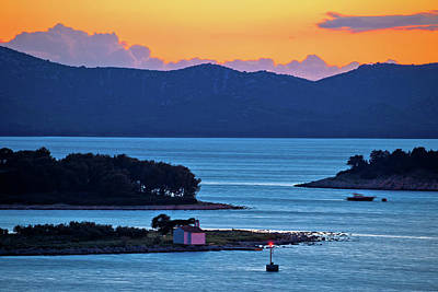 Photograph - Adriatic Archipelago Of Pakostane Aerial Sunset View by Brch Photography