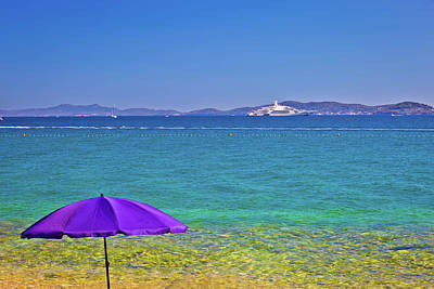 Photograph - Adriatic Beach In Zadar With Megayacht Background by Brch Photography