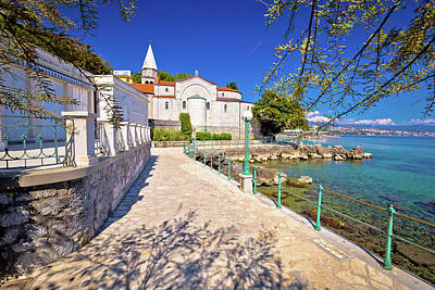 Photograph - Adriatic Town Of Opatija Watefront Walkway And Church View by Brch Photography