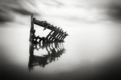 Peter Iredale Photograph - Adrift At Sea In Black And White by Eduard Moldoveanu