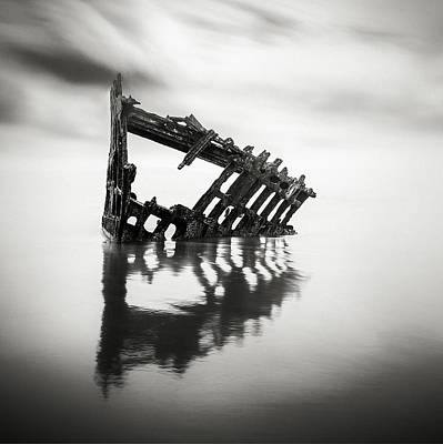 Photograph - Adrift At Sea Monochromatic Square by Eduard Moldoveanu