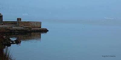 Pier Digital Art - Adrift In The Fog by DigiArt Diaries by Vicky B Fuller