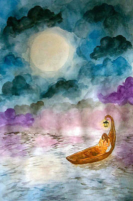 Sea Moon Full Moon Painting - Adrift by Jennie Hallbrown