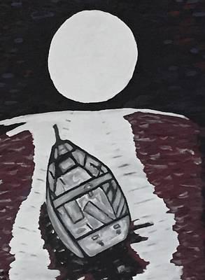 Sea Moon Full Moon Drawing - Adrift by Jonathon Hansen
