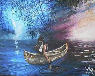 Canoe Waterfall Painting - Adrift by Nicholas Paul