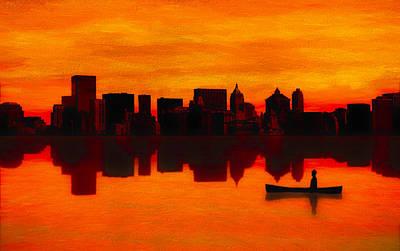 Canoe Digital Art - Adrift by Rick Baker