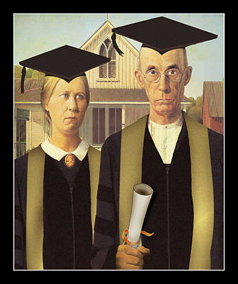 Grant Wood Painting - Adult Graduates by Gravityx9  Designs