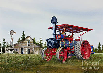 Steam Tractor Painting - Advance Rumely Steam Traction Engine by James Williamson