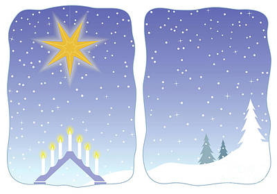 Advent Star Decorating A Snowy Window Art Print by GoodMood Art