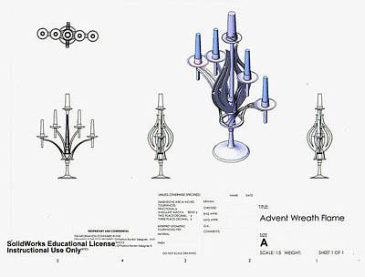 Candle Stand Drawing - Advent Wreath Design Solidworks by Patrick RANKIN
