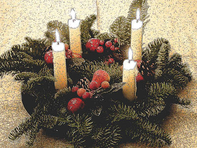 Painting - Advent Wreath by Mary Helmreich