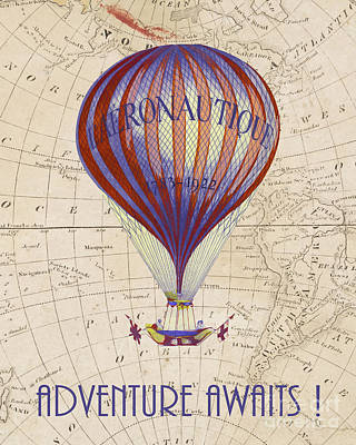 Vintage Map Photograph - Adventure Awaits by Delphimages Photo Creations