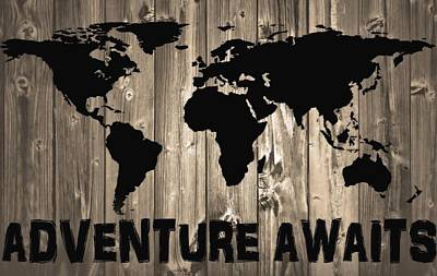 Adventure Awaits Graphic Barn Door Art Print