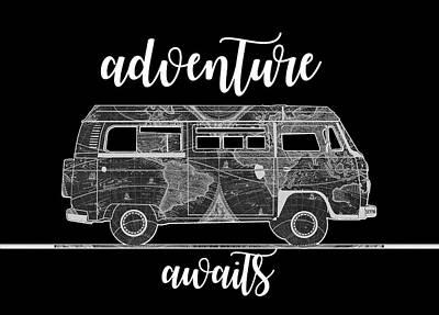 Digital Art - Adventure Awaits World Map Design 2 by Bekim Art
