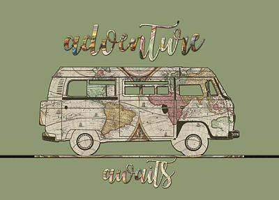 Camping Digital Art - Adventure Awaits World Map Design 5 by Bekim Art