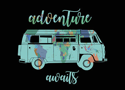 Adventure Awaits World Map Design 7 Art Print