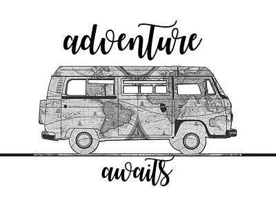 Camping Digital Art - Adventure Awaits World Map Design by Bekim Art
