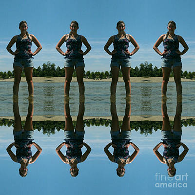 Adventure Girl Twins Reflection Of Thoughts Art Print