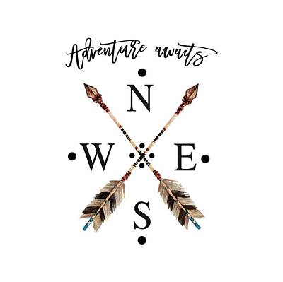 Art Print featuring the digital art Adventure Waits Typography Arrows Compass Cardinal Directions by Georgeta Blanaru